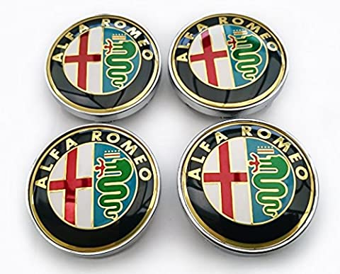ALFA ROMEO ALLOY WHEEL CENTRE CAPS GOLD STYLE 60mm PACK of FOUR