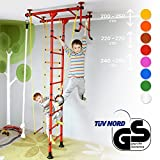 Klettergerüst für Kinder Kletterwand Sprossenwand Turnwand Heimtrainer FitTop M1 inkl. Turnausrüstung Rot Raumhöhe 240 - 290 cm