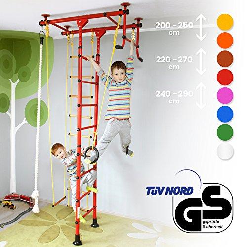 Kinder-indoor-heimtrainer (Klettergerüst für Kinder Kletterwand Sprossenwand Turnwand Heimtrainer FitTop M1 inkl. Turnausrüstung Rot Raumhöhe 240 - 290 cm)