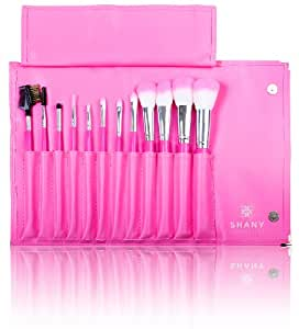 Shany Pro Vegan Cosmetic and Mineral Brush Set with Pink Clutch Set Pack of 12 Brushes