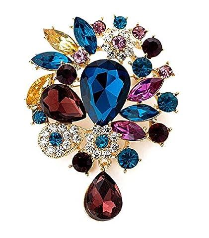 Vintage Wunderschöne große Braut Strass Kristall Brosche Blau Rubin Anhänger