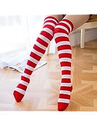 BBIAY Chaussettes de Noël de bas blanc rouge de chaussette de chaussette d'Halloween rayé 70*10cm