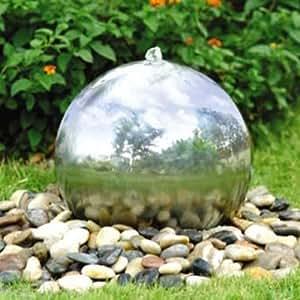 45cm Sphère en acier inoxydable solaire jardin d'eau avec éclairage à LED