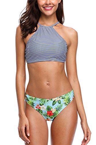 Charmo Damen Verstellbare Träger Bikini Zweiteiler Schwimmanzug Gepolstert Bikini Oberteil Bademode XL -