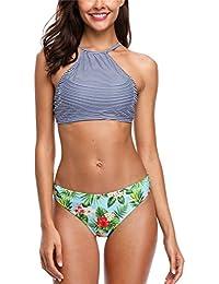 Blumen Bademode Damen Bikini Strand Hohe Taille Badeanzug Baden Anzug Set heiß