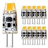 JAUHOFOGEI 10er G4 COB 1W LED Lampe Brine, 12-24V AC/10-30V DC, Warmweiß 2700K 120LM ersetzt 10W Halogenlampen Stiftsockellampe, G4 Mini Leuchtmittel für Wohnmobile, Wohnwagen,Caravan & Boote