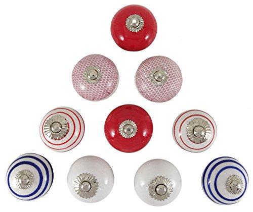 Indianbeautifulart Tür Keramik Knöpfe Einzigartige dekorative Küche-Kabinett-Fach-Zug-Drehknopf Lot von 10 Stück (Einzigartige Küche-kabinett-knöpfe)