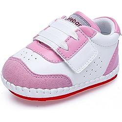 DELEBAO Chaussure Bébé Chaussons Cuir Enfant Chaussures Premiers Pas pour Bebe Baskets (Rose,9-12 Mois)