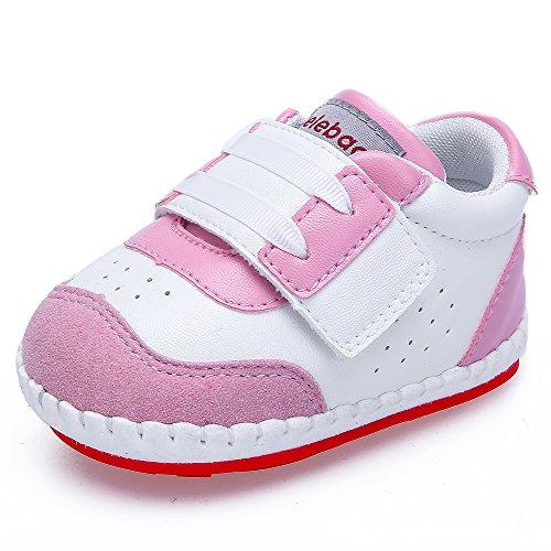 DELEBAO Scarpe Primi Passi in Pelle PU Scarpe Bambina Sneakers Bimba Morbide Suola Antiscivolo Scarpe da Neonato (Rosa,9-12 Mesi)