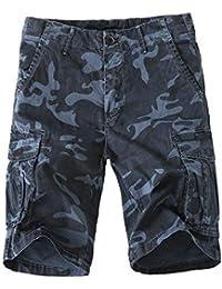 Meerway Hombre Bermudas Pantalones Cortos de Cargo del Estilo Bolsillo  múltiple Vintage Pantalones Cortos de Trabajo ef191d0b0013