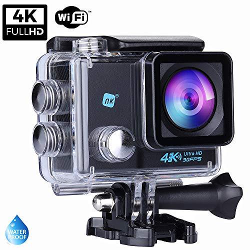NK NK-AC3061 4K, Cámara Deportiva Subacuática 4K (Ultra-Alta Definición) HD 16MP, WiFi, Carcasa Impermeable 30M, 170º Gran Angular, Sensor Ultra-Avanzado Toshiba, 900mAh, HDMI USB, Negro