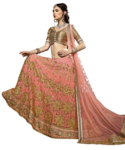 Aasvaa Women\'s Peach Embroidered Net Lehenga Choli(Aasvaa_3407)