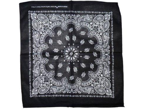 Bandana di colori e motivi diversi (BA-153) nero multifunzione classica foulard scialle collo rocker biker motociclista motorcycle pirata accessorio hip hop cappellino cowboy bracciale