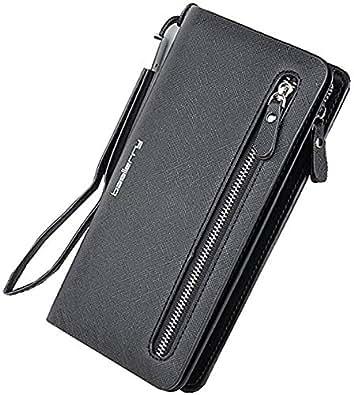 Lorna Women's/Girl's Long Zipper Wallet Clutch (Black)