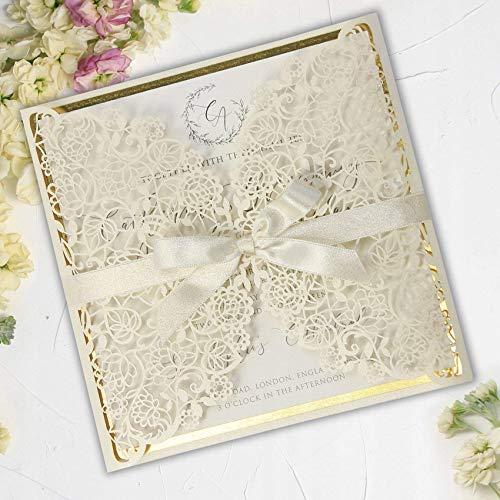Lasergeschnittene DIY Einladung mit Goldeinsätzen.Geburtstag, Hochzeit, Taufe, Kommunion durchbrochenes DIY 50 SET (Eleganter 50 Geburtstag Einladungen)