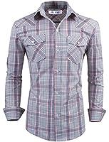 Tom's Ware Mens Stylish Slim Fit Cotton Plaid Pocket Longsleeve Shirt