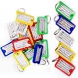 10 x Key Tag ID Holder Plastic Name FOB Label Small Key Chain Tags Assorted Colour Pack