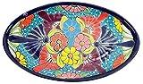 Servierplatte, Vorspeisenplatte, Tapas-Platte, oval, 37 x 23 cm, Talavera, handbemalt - türkis