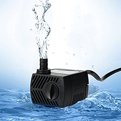 Uniclife 300L/H (80 GPH)Submersible Water Pump with 1.8m Power Cord for Aquarium Water Features Fountain Hydroponic, Comes with 1Year Limited Warranty