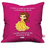 #7: indibni Gift for Sister Princess Printed Satin Soft Cushion (12x12 inch) with Filler - Pink