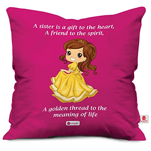 indibni Gift for Sister Princess Printed Satin Soft Cushion (12x12 inch) with Filler - Pink
