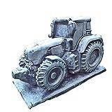 Massiver frostfester Steinguss Garten Deko Traktor Schlepper Trecker Zugmaschine