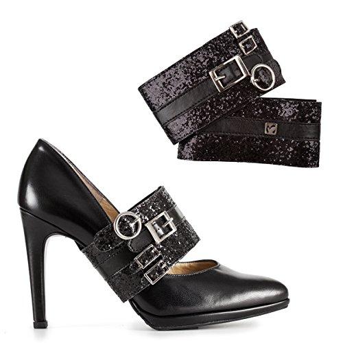 Molinis Schwarz Glitzernde Schuh Accessoires Schuhschmuck für pumps. Abnehmbare Schuhbander riemchen, Haltebänder für Damen high heels.