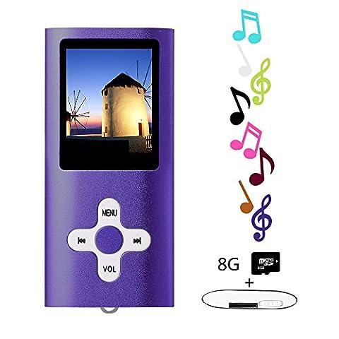 Btopllc MP3 / MP4 Lecteur de carte MP3 8 Go Lecteur de musique Hi-Fi 1,7 pouces Lecteur LCD MP3 / MP4 Lecteur média avec mini port USB / lecteur de musique MP3 Enregistreur vocal Lecteur média - Violet