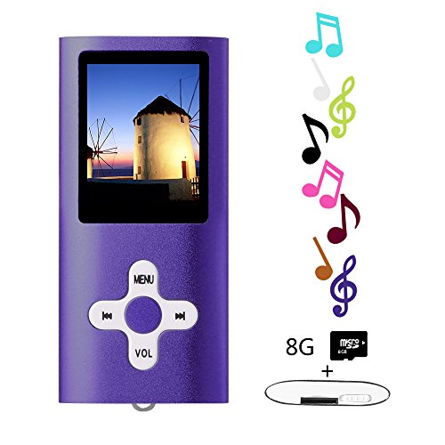 Btopllc MP3-Player, MP4-Player, Musik-Player, tragbarer 1,7-Zoll-LCD-MP3 / MP4-Player, Media Player 8 GB-Karte, Mini-USB-Port USB-Kabel, HiFi-MP3-Player, Voice Recorder Media Player - Lila