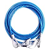 #1: Woogor Car Auto Full Steel Towing Tow Cable Rope 3000kgs 6mm Heavy Duty.Blue