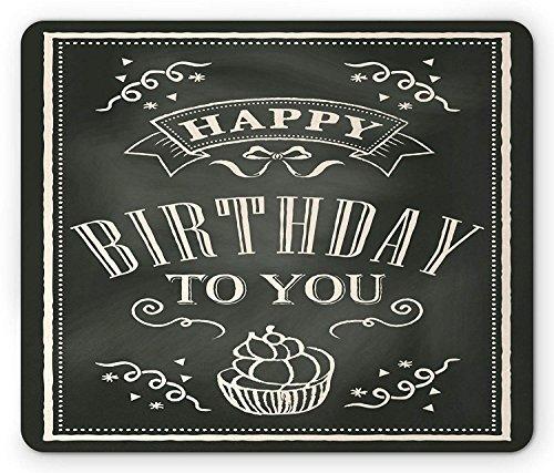 Geburtstag Maus Pad, Tafel Hintergrund mit Hand Ziehen, Happy Birthday To You Nachricht, Standard Größe Rechteck rutschfeste Gummi Mousepad, dunkles grün und creme
