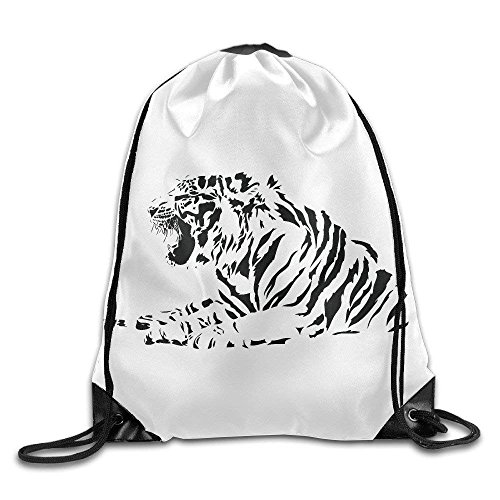 Louis Vuitton Duffle Bag (Black and White Tiger Gym Drawstring Backpack Unisex Portable Sack Bags)