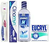 Pearl Drops, Eucryl & Clinomyn Smokers Teeth Care Set- Toothpaste, Toothbrush, Mouth Wash and Toothpowder