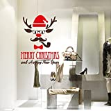 NT0334 Decoraciones de tiendas de Navidad, Pegatinas, Adhesivos - Reno con el tubo - 60x78 cm