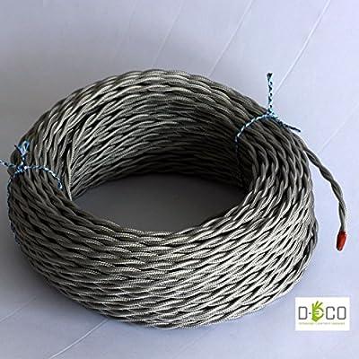 Elektrischen Draht geflochten beschichteten farbigem Stoff. Made in Italy! 10 Meter 3x0, 75 Farbe: Silber