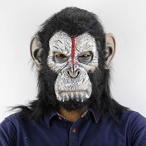 QWEASZER Tiermaske Schwarz Orang-Utan Maske Halloween Terror Gruselige Affen Maske Kostüm Erwachsene Lustige Maskerade Bar Cosplay Party Latex Masken Prom Performance Requisiten,Black-OneSize