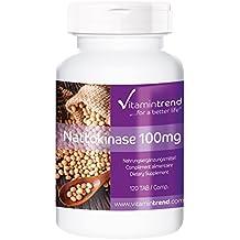 Nattokinase 100mg, 2000 FU, vegan, naturel, 120 comprimés, substance pure sans stéarate de magnésium, Flacon avantageux pour 4 mois
