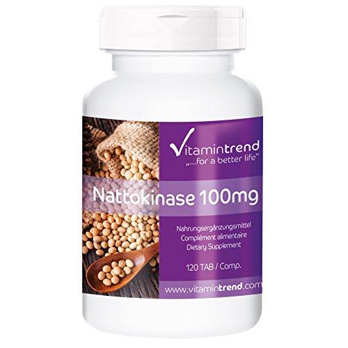 Nattokinase 100mg, 2000 FU, vegan, natürlich, 120 Nattokinase-Tabletten, ohne Magnesiumstearat, Großpackung für 4 Monate, unterstützt u.a. das Immunsystem (Natürlich Vitamine Nattokinase)