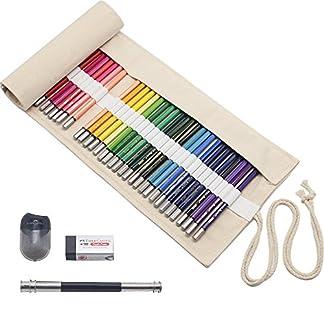 Set 48 Lápices de Colores con Organizador Bolsa de Lona Sacapuntas Borrador para Estudiantes Niño y Amantes de Colorar