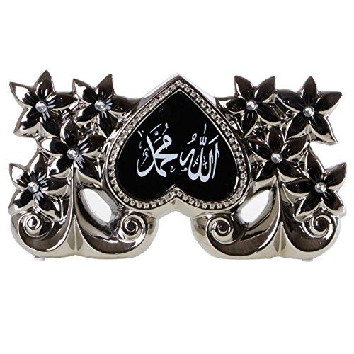 Allah Muhammed Dekoration Yd16b055bs Religiöse Islamische Deko mit Blumen in Herzform und Strasssteinen Schwarz Silber