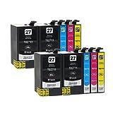 10 Druckerpatronen kompatibel zu Epson 27-XL, T2705, T2715 (4x Schwarz, 2x Cyan, 2x Magenta, 2x Gelb) passend für Epson WorkForce WF-3600 WF-3620-DWF WF-3620-WF WF-3640-DTWF WF-7110-DTW WF-7600 WF-7610-DWF WF-7620-DTWF