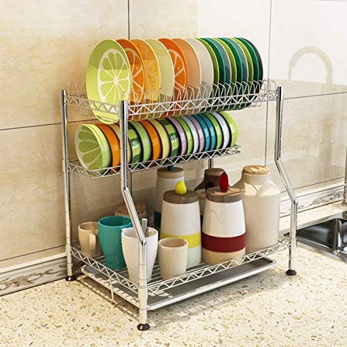 3-Tier Kitchen Dish Drying Rack Countertop Organizer Wire Frame Utensil Holder Stainless Steel Metal - Wire Rack Frame