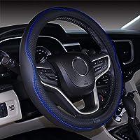 غطاء عجلة القيادة من الجلد الطبيعي 15 بوصة للرجال 2019 سيارة جديدة لطيفة الملحقات الداخلية للسيارة (أزرق داكن)