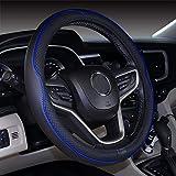 ISTN Coprivolante per Auto in Pelle Microfibra 38 cm per la Maggior Parte delle Auto (Nero Blu Scuro)
