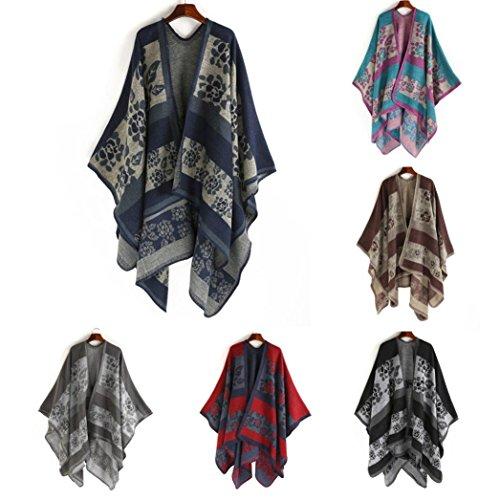 Cape Shawl Kimono Femme Floral, Kolylong Élégant Chandail Cardigan longues en La laine Châle Écharpe Veste Couvrir Chemise Blouse Vêtements d'extérieur Bleu