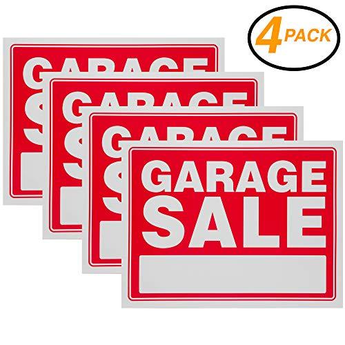 Garage Sale Sign rot Yard Sales Street Signs By ram-pro-22,9x 30,5cm Kunststoff Banner Etiketten für Winter, Weihnachten, Schwarz Freitag, Urlaub Verkauf Veranstaltungen (4Stück)