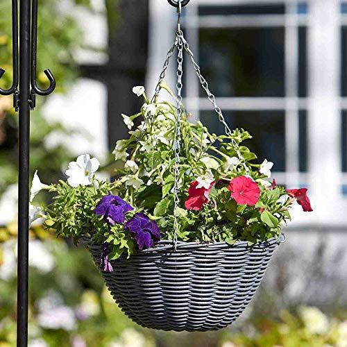 pille gartenwelt Blumenampel außen Rattan Blumenampeln zum aufhängen versch. Größen und Farben (rund 35cm Kunstrattan grau)