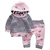 Covermason Bebé Niñas Linda Manga Larga Animación Impresión Sudaderas con Capucha y Pantalones (2PCS/1 conjunto) (3-6M, Gris)