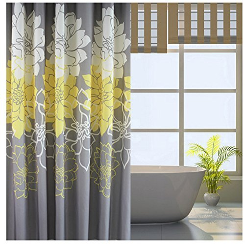 Welwo Bathroom Fabric Bath_Shower Curtain Set Leaves Bath_Shower ...
