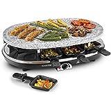 Klarstein Steaklette Appareil à raclette 2-en-1 (pierre à griller naturelle pour 8 personnes, 1500W, 8 poêlons avec revêtement antiadhésif, nettoyage facile) - noir